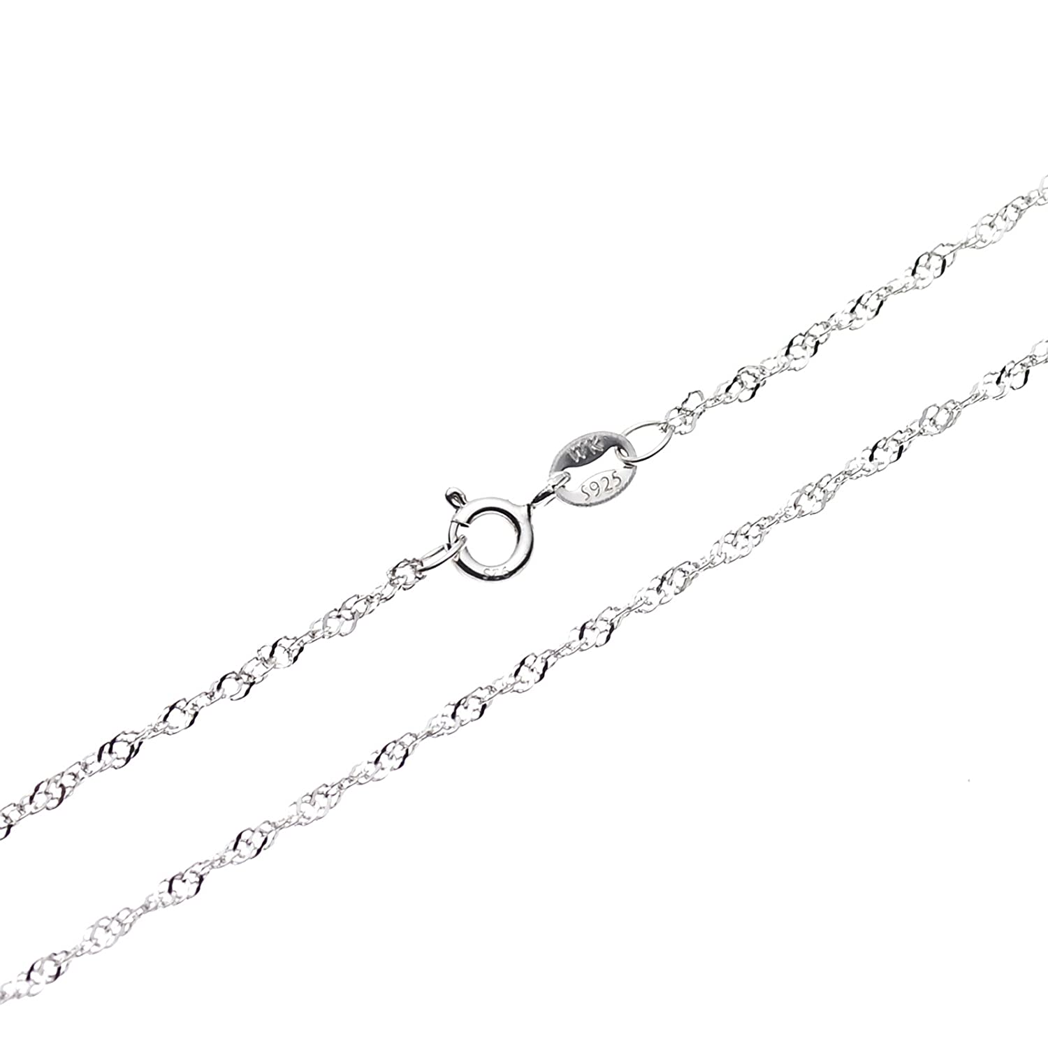 SWEETV 925 Sterling Silver 1.3mm Singapore Chain Necklace Jewelry - Italian Crafted, Spring Ring Clasp, Sizes from : 16 18 20 22 24 inch/40 45 50 55 60 cm 20 SVCXL17002W13CP12C