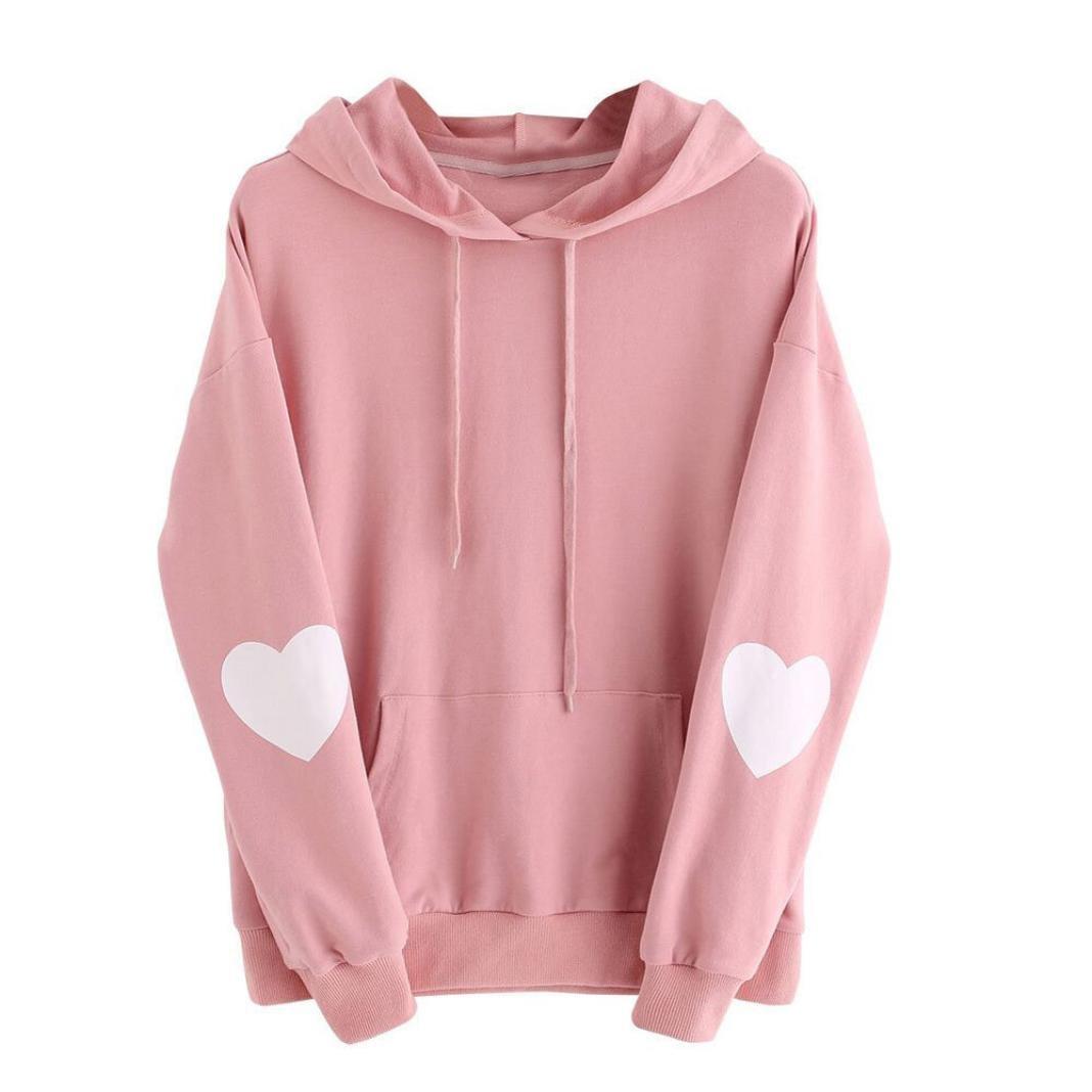WM/&MW Womens Hoodie Lovely Heart Shape Patch Long Sleeve Pullover Hooded Sweatshirt Jumper Tops