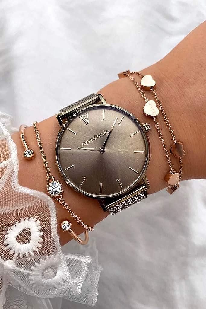 Paul Valentine - Reloj de Pulsera para Mujer (Malla Caqui, 32 mm): Amazon.es: Relojes