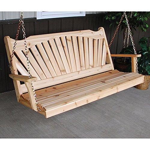 A&L Furniture Co. Fanback Red Cedar Porch Swing ... (4 Foot, Unfinished) ()