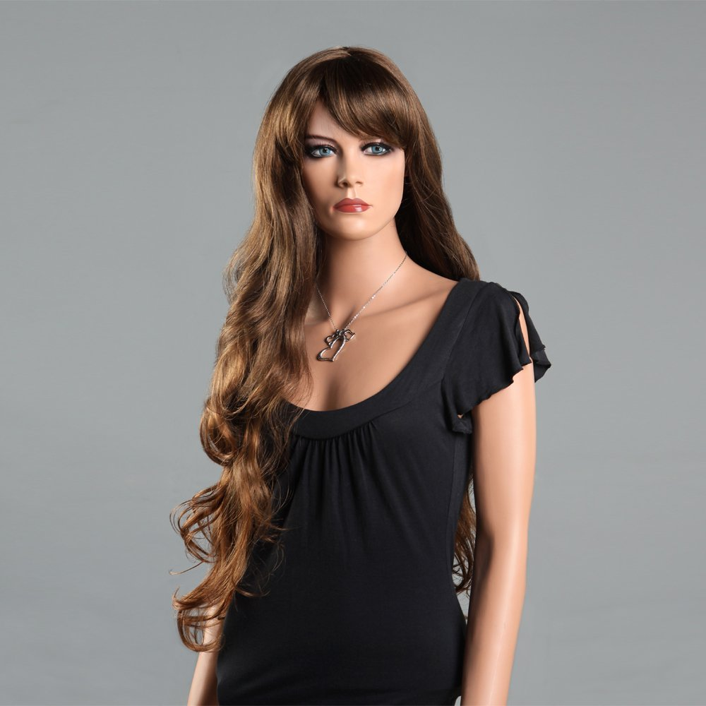 Amazon.com   Hot Super Long Brown Hair Wigs for Women Hair Curly Weaves  Wigs with Bangs Synthetic Women Wigs Sexy Wig   Beauty fc744c4a4e