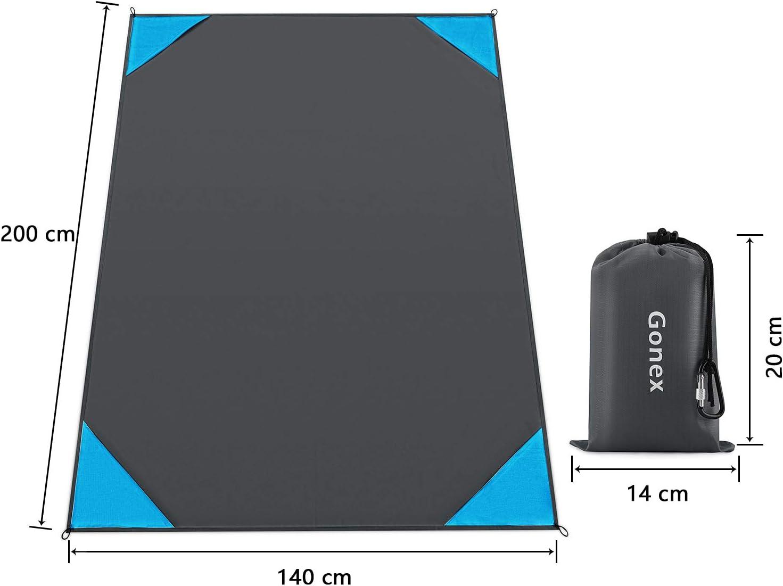 Gonex Coperta da Spiaggia Picnic Campeggio Anti Sabbia Impermeabile Portatile con Reticule 140 200cm