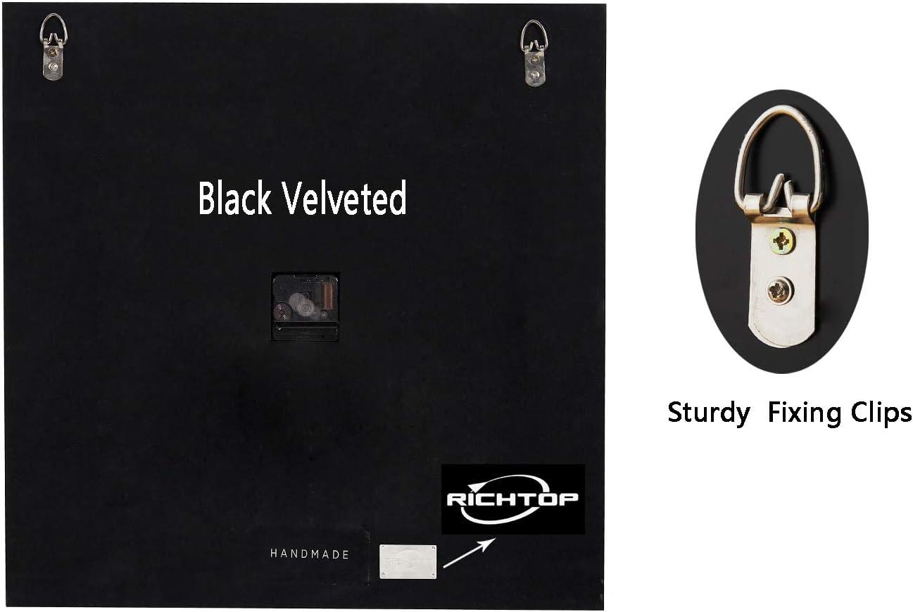 Cuisine RICHTOP Horloge Murale Geante Carr/é 3D en Diamants Design avec Silencieuse Presque Quartz M/écanisme n/ô Batterie Pendules Murales Bois avec Velours Noir pour Maison Dia 50cm