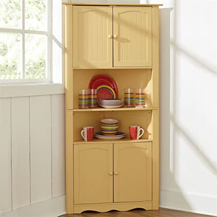 Amazon.com: BrylaneHome Country Kitchen Corner Cabinet (Yellow,0 ...