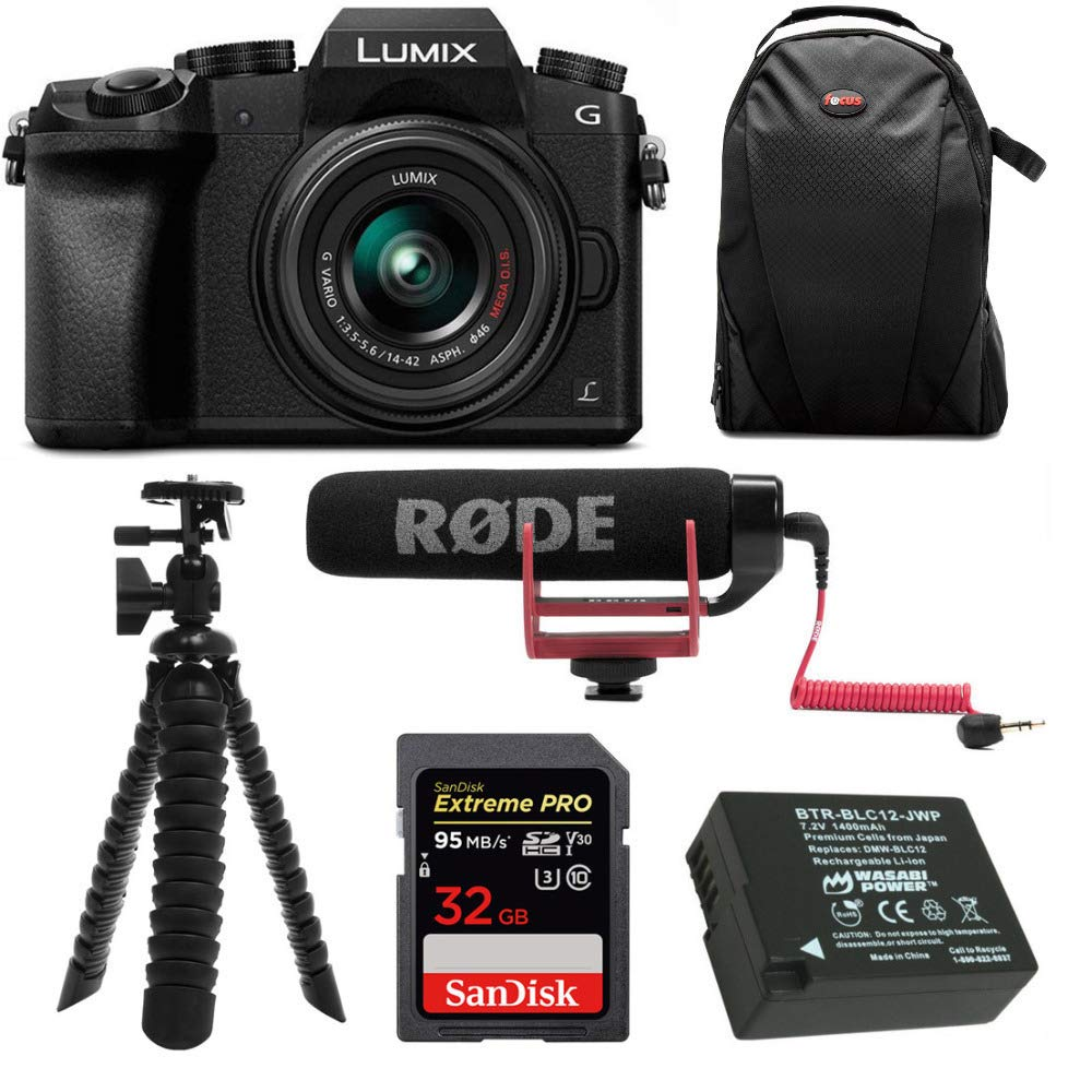 Panasonic LUMIX G7 Digital Camera with 14-42mm f/3.5-5.6 Lens & Rode Microphone Accessory Bundle by Panasonic