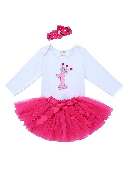 171b377cd URBEAR Bebé Niña 3pcs vestido de Rosa Roja tutú+ropa+diadema Corona Patrón  de primer cumpleaños para.12-24 Meses