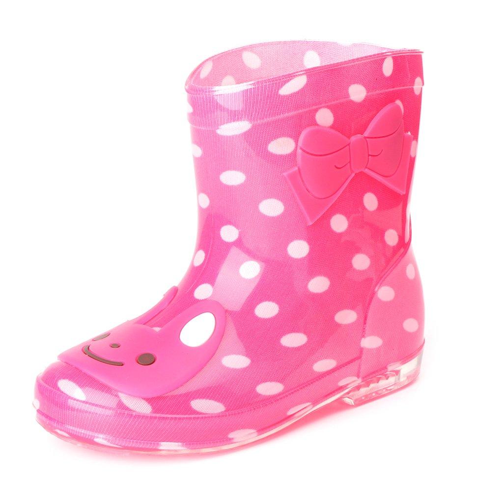 ヴァージニアウルフの家Kids Girl Boy Watertight通気性Cartoon Jelly Rainshoesノンスリップ雨ブート靴Mid Calfオーバーシューズ B074N335CP 11|レッド + ホワイト レッド + ホワイト 11