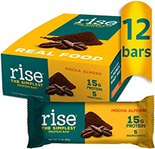 product image for Rise Whey Protein Bar, Mocha Almond 15g of Protein, Five Ingredients, Non-GMO, Gluten Free, Soy Free, Kosher, Contains Whey Protein, Pack of 12 Bars