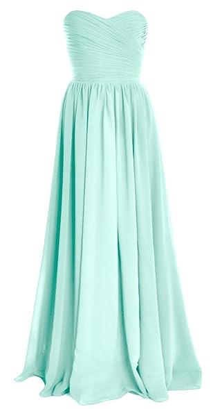 MACloth Women Strapless Chiffon Long Bridesmaid Dress Wedding Party Evening  Gown (2, Aqua)