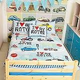 Wolala Home 2 Piece Children Bed Sheet Duvet Cover SetsCotton Cartoon Trucks Motorcycles Cars Bedding Set (Toddler 2pcs set, Blue)