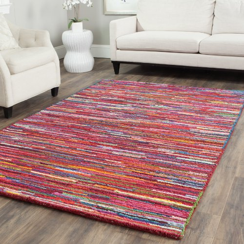 Safavieh Nantucket Collection NAN142A Handmade Abstract Pink and Multi Cotton Area Rug (10' x - Expression Rug Area Abstract