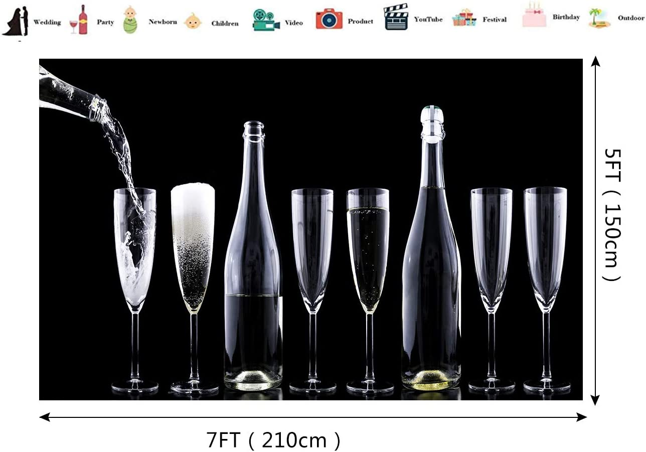 Wine Cups Backdrop Black and White Photography Background Valentine Day Backdrop Lover Wedding Party Backdrop Classic Simple Style Photo Background Props 7X5ft E00T9236