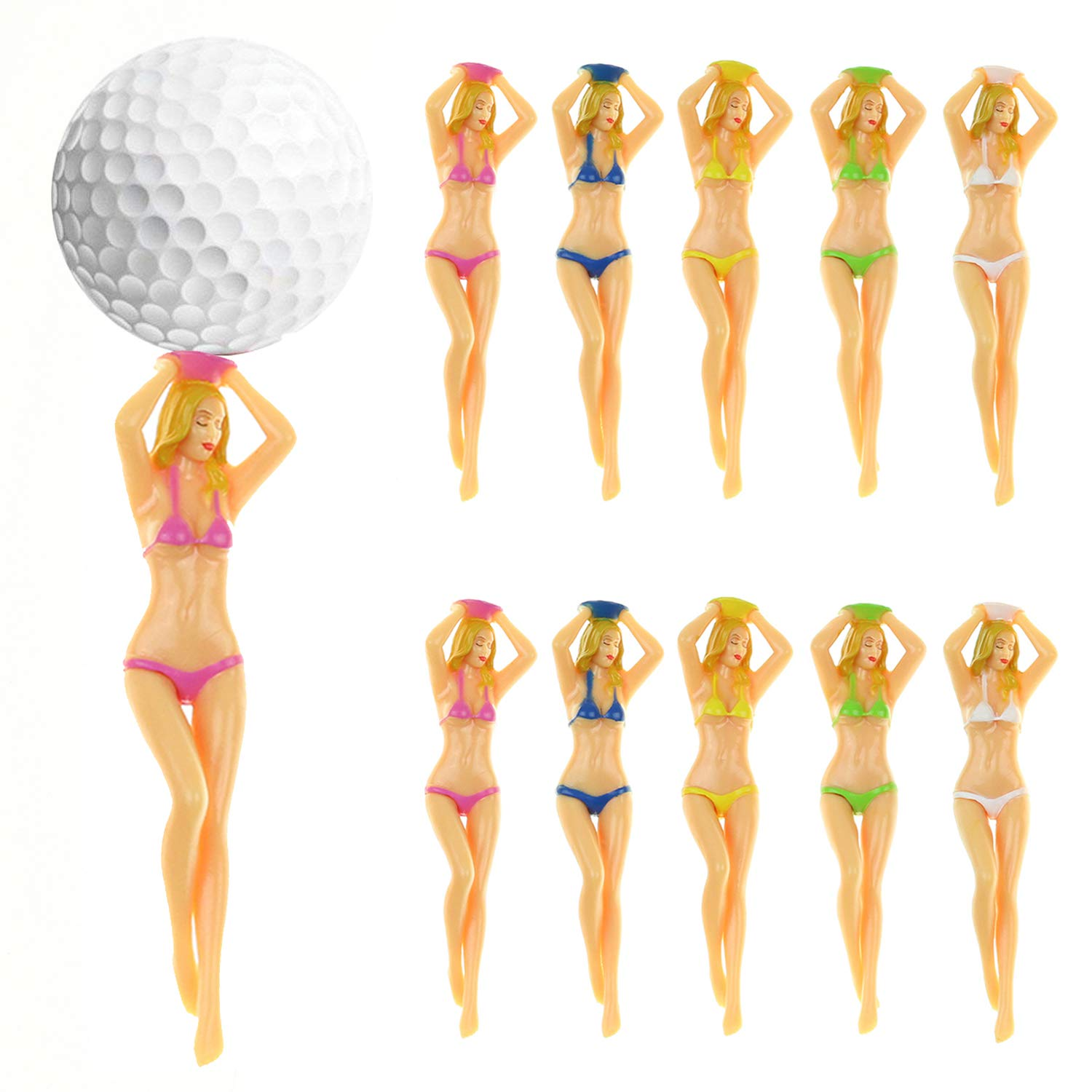 Kofull Colored Bikini Woman Golf Tees Plastic Tee Plastic Lady Golf tee Divot Tool -10/Pack by Kofull