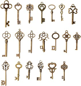 SL crafts Mixed Set of 20 Skeleton Keys Antiqued Brass Bronze Charms Pendants Wedding Favor 38mm-68mm