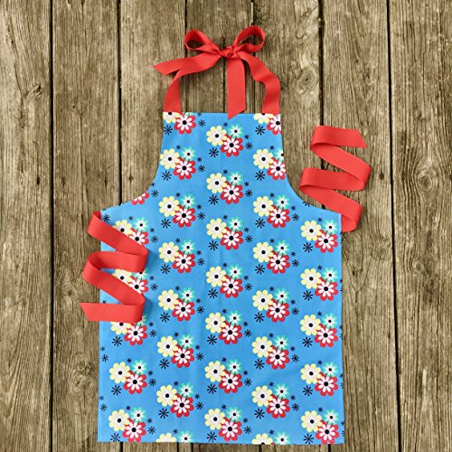 Colorful Blue Floral Craft Art or Kitchen Apron Gift for Tween Girls from Sara Sews