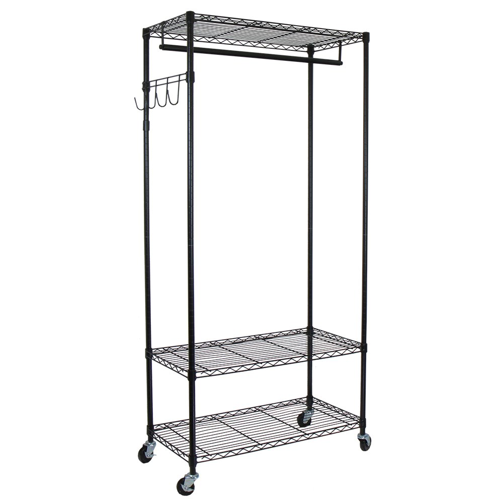 Oceanstar Garment Rack with Adjustable Shelves with Hooks, Black by Oceanstar