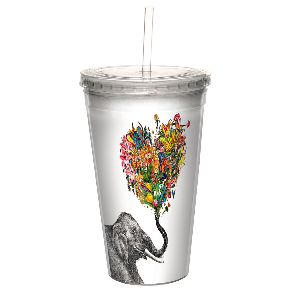 Tree-Free Greetings CC98864 Cool Cups, Double-Walled Pba Free with Straw and Lid Travel Insulated Tumbler, 16 Ounces, Love Elephant