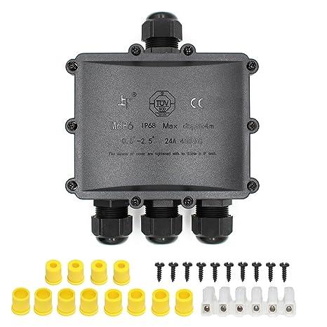 Outdoor 3-Cable IP68 Waterproof Dust-proof Plastic Terminal Junction Box Black
