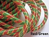 YYCRAF One Roll 20 Yards Solid Mesh Tube Deco Flex for Wreaths Cyberlox Crin Crafts 16mm 5/8-Inch (Red/Green)