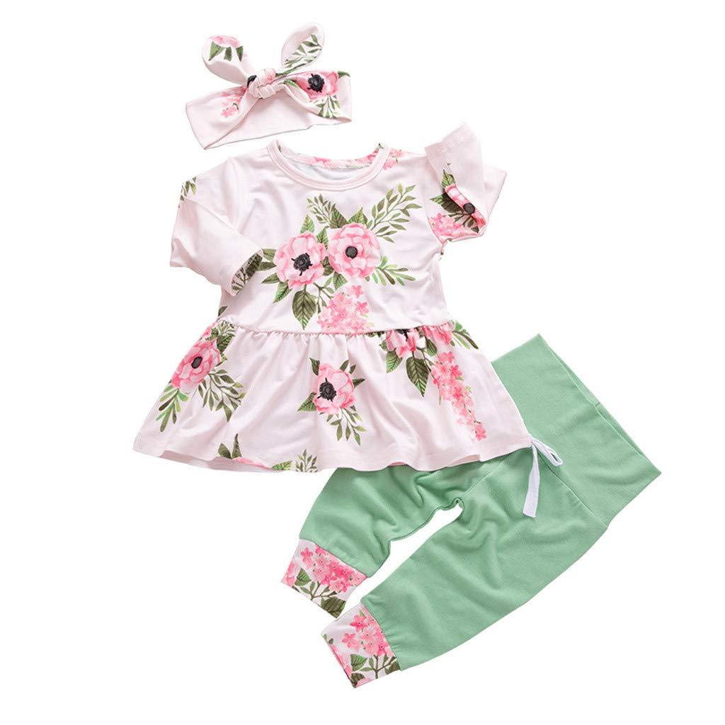 Kurze Hose Stirnband Outfits Set Babykleidung M/ädchen Sommer,Covermason 3 St/ück Kleinkind S/äugling Baby M/ädchen Blumen Kleider Set Tops
