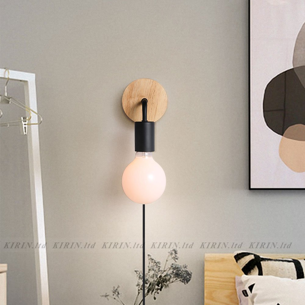 Minimalist Wall Light Sconce Plug-in E26/27 Base Modern Contemporary Style Down Lighting Dimmble Wall Lamp Fixture with Wood Base for Bedroom, Closet, Guest Room Hall Night Lighting (Black) by KIRIN (Image #5)