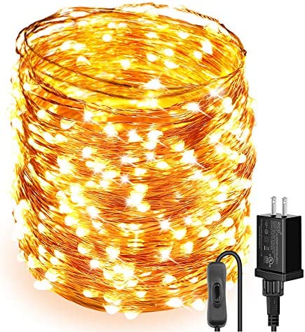 Moobibear Ultra Long LED String Lights 164ft 500 LEDs Copper Wire Lights, UL Listed Plug in Fairy Lights, Warm White Starry String Light with ON Off Switch for Bedroom, Patio, Wedding, Party