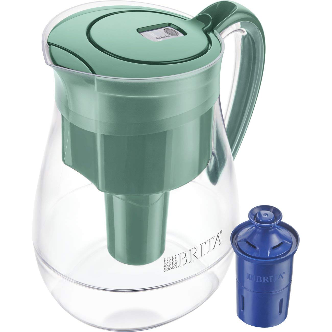 Brita Large 10 Cup Water Filter Pitcher with 1 Longlast Filter, Reduces Lead, BPA Free – Monterey, Green
