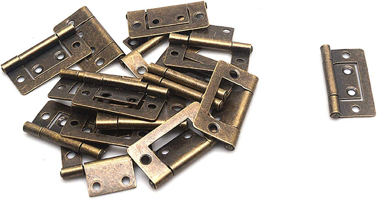 Bronze, 38x21mm//1.5x0.8 FarBoat 20Pcs Flush Hinges Non-Mortise Antique Bronze Iron for Furniture Cabinet Drawer Cupboar Dresser with Screws