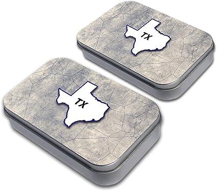 Texas TX State Outline Decorative Craft Trinket Metal Tin Box Set of 2