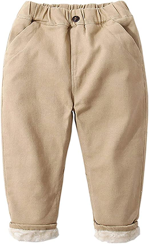 HZYBABY Big Boys Warm Active Basic Jogger Lined Fleece Pants with Pockets