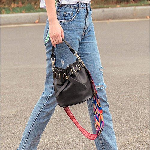 Korean Handbag Handbag Leather Shoulder Bag Fashion Bag Wild Hand Bucket Bag Leather Bag Bag Women's Black Messenger Shoulder Pgw1IWx