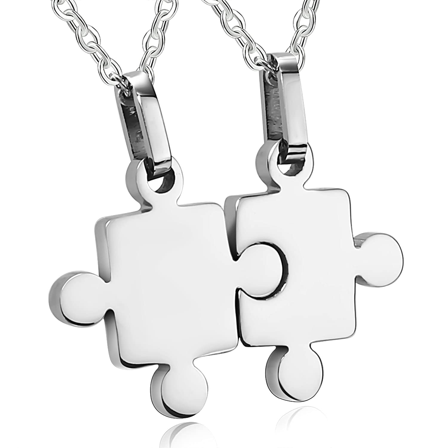 Adisaer Stainless Steel Pendant Necklace for Him and Her 2PCS Polished Puzzle Pieces Wedding Necklace Silver Great Gift for Christmas