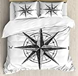 Compass 4 Piece Bedding Set Twin Size, Seamanship Hand Drawn Windrose with Complete Directions North South West, Duvet Cover Set Quilt Bedspread for Childrens/Kids/Teens/Adults, Charcoal Grey White