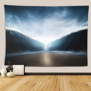 Ocean Tapestry,Ocean Opening Up to Form A Canal Inspiredthe Event of Moses Parting The,Wall Hanging Wall Decor Blanket for Bedrooms Living Room Tablecloth Dorm Home Decor - 60