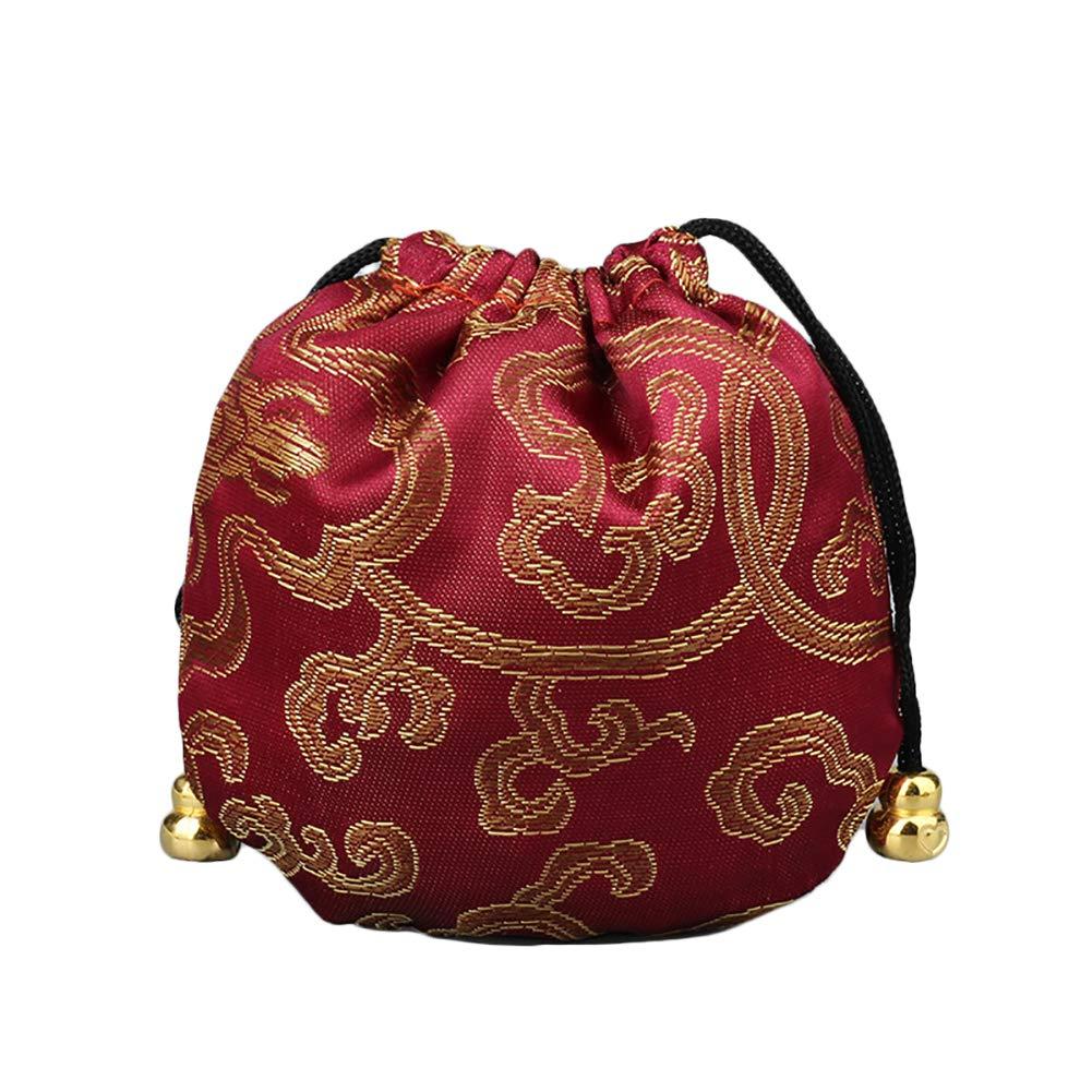 Chakil Sac à cordon Portable Petit kit Cadeau Pochette Sac Sac fourre-tout pour bijoux d'emballage 11cm*11cm