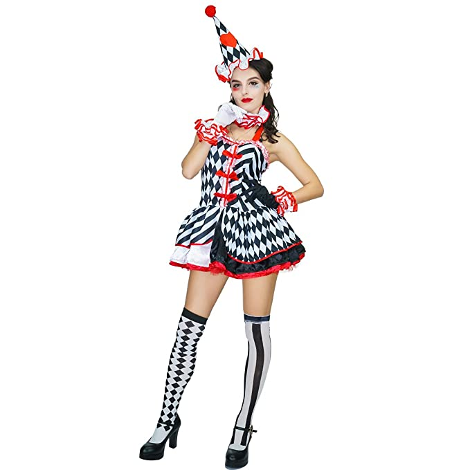 Flapper Costumes, Flapper Girl Costume Womans Halloween Clown Costume $26.60 AT vintagedancer.com
