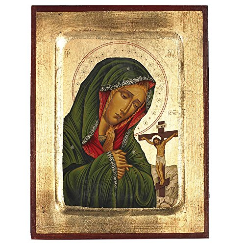 Virgin Mary of Sorrows Greek Painted Icon by Catholic Gifts USA