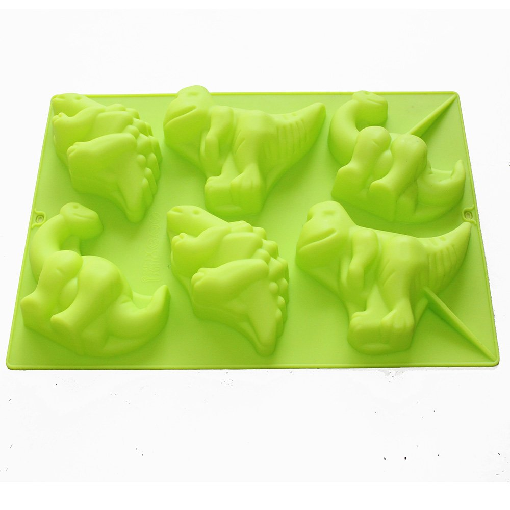 X-Haibei Large 6 Dinosaurs Chocolate Soap Candle Crayon Plaster Silicone Mold Kids Fun Maker SM0249