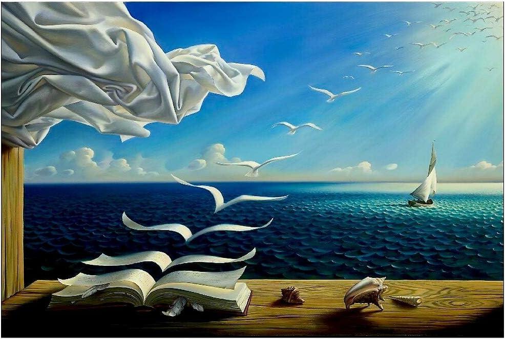 ZENDA Salvador Dali Wall Art Dalí Wave Book Framed Painting Canvas Art for Bedroom Livingroom Decoration Ready to Hang