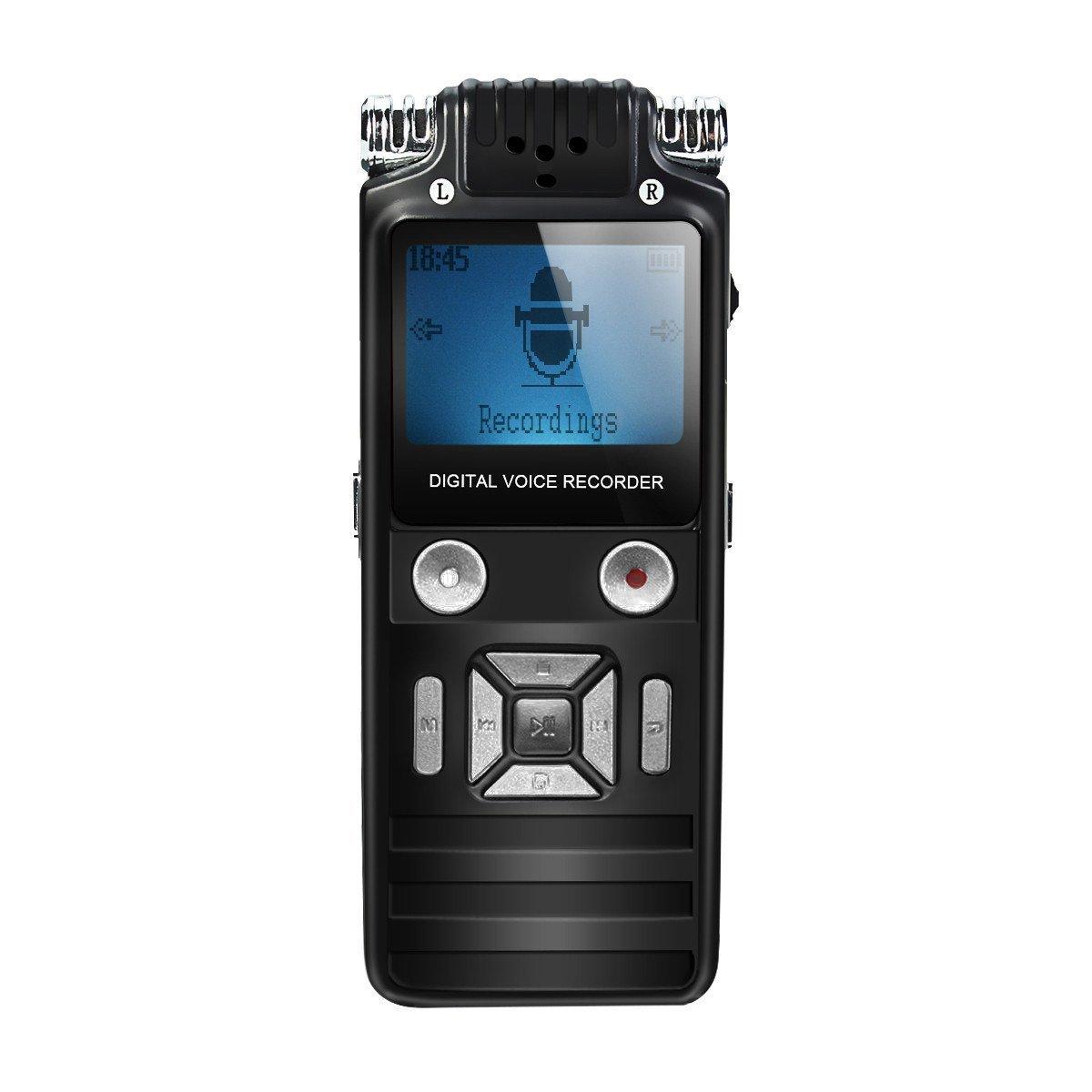 Voice Recorders, EIVOTOR 8GB Digital Audio Sound Recorder Dictaphone, Voice Activated Recorder with Headphones, MP3 Player, Auto Saving File, Noise Reduction