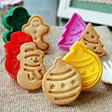 Cocake SET OF 4 pcs Christmas Xmas Tree + Gingerbread Man + Snowman + Ornament Ball PLUNGER CUTTERS SUGARCRAFT COOKIE CUTTER CAKE DECORATING NEW