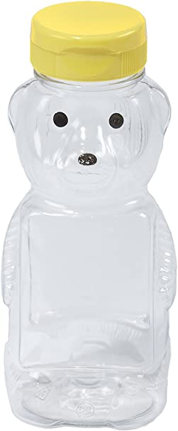 Plastic Squeeze Bear Bottle Container 12 OZ Honey Bee Jar Dispenser ~ 12 PK