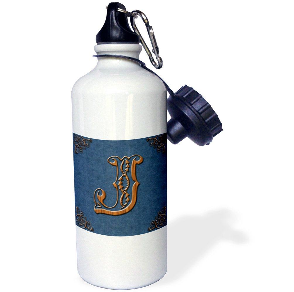 3dRose wb_162068_1''Monogram letter J in Victorian Western font that looks like carved oak wood on a denim background.'' Sports Water Bottle, 21 oz, White by 3dRose (Image #1)