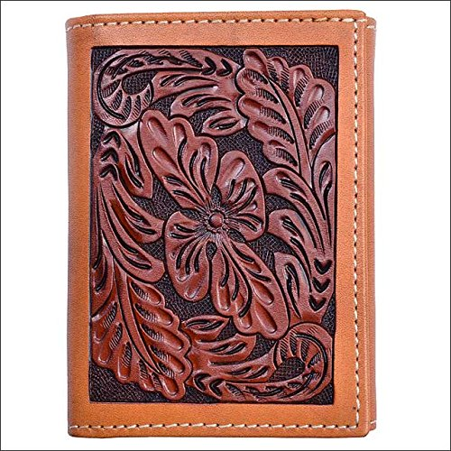 Tony Lama Mens Saddle (Tony Lama TAN LEATHER WESTERN TRIFOLD MENS WALLET FLORAL TOOLED NATURAL TRIM)