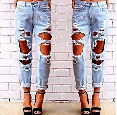 Pantaloni Strappato Estate Strappati Jeans Donna Amuster wI744rKOqX