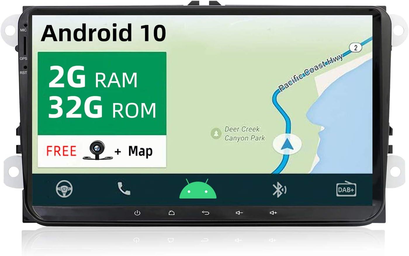 Yuntx Android 10 Autoradio Mit Navi Für Vw Golf Skoda Seat Gps 2 Din 9 Zoll Touchscreen Unterstützt Lenkrad Bedienung Bluetooth Dab Wifi 4g Carplay Usb Microsd Navigation