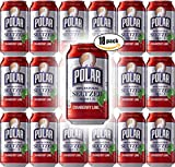 Polar Seltzer Cranberry Lime, 12oz Cans (Pack of 18, Total of 216 Oz)