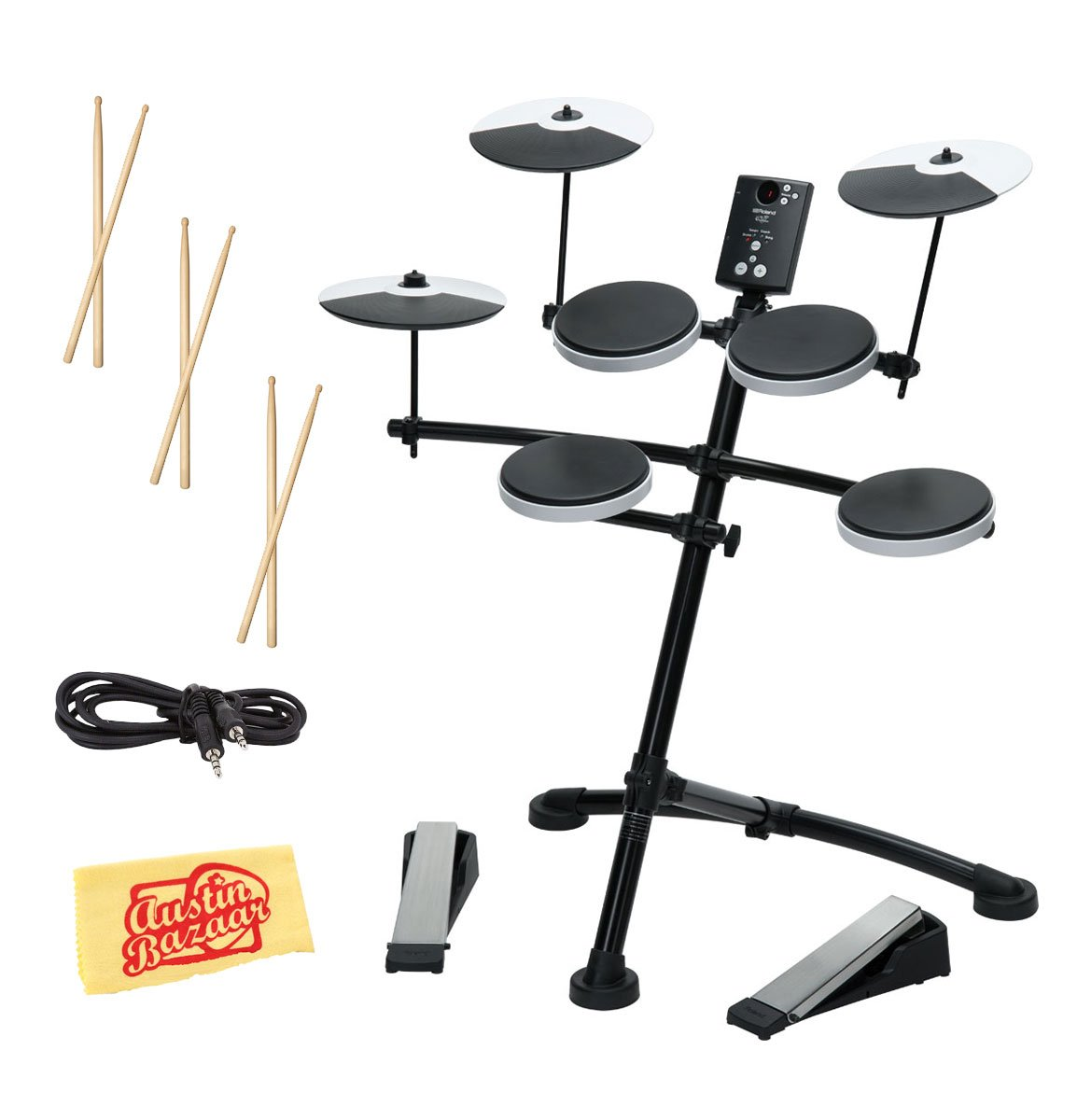 Roland TD-1K Electronic Drum Set Bundle with 3 Pairs of Sticks, Audio Cable, and Austin Bazaar Polishing Cloth