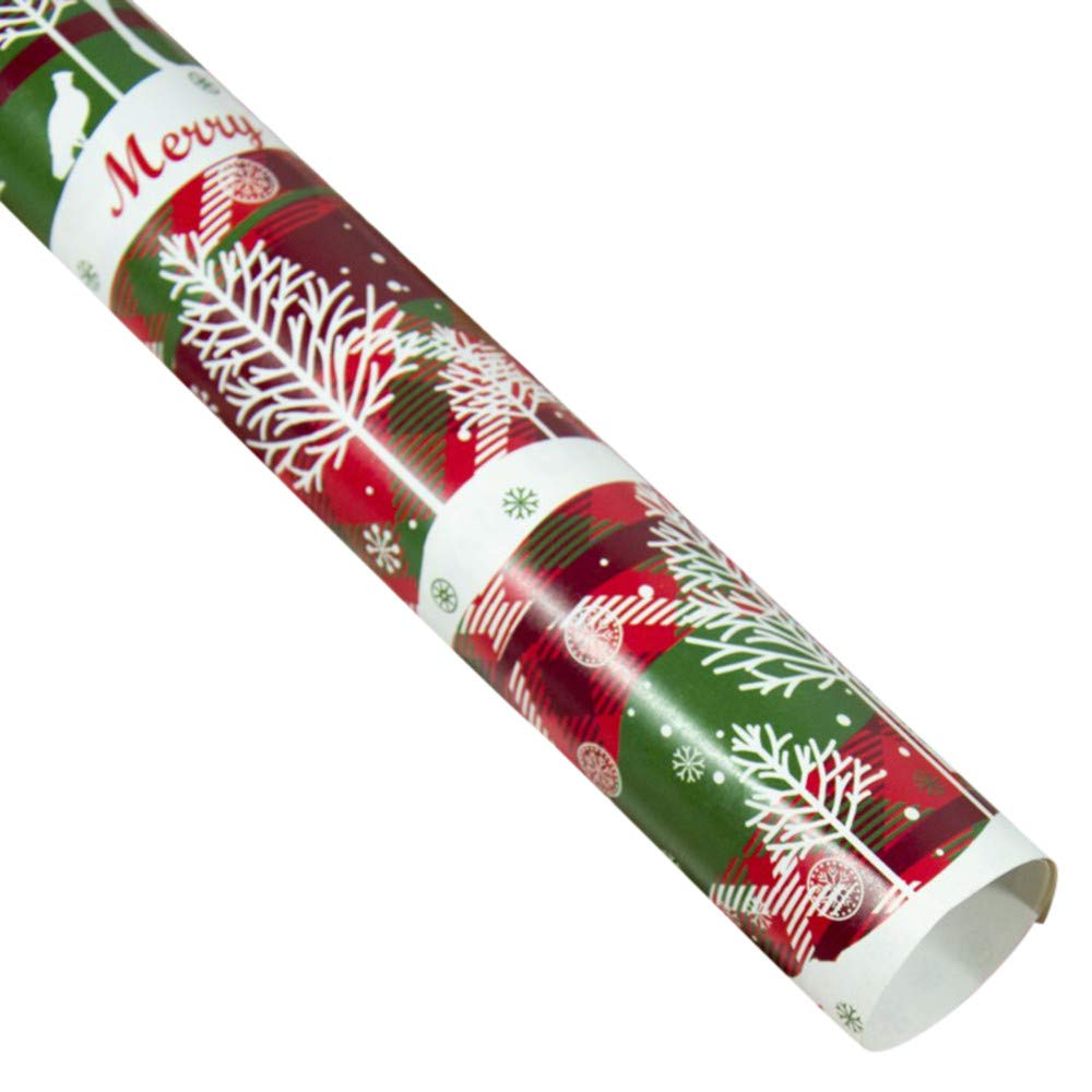 Gift Wrapping Paper Set 3 Rolls Christmas Wrap Paper for Birthday, Holiday, Baby Shower, Wedding - Gift Tags, Stickers, Gift Box, Raffia Shredded Paper (Paper E)