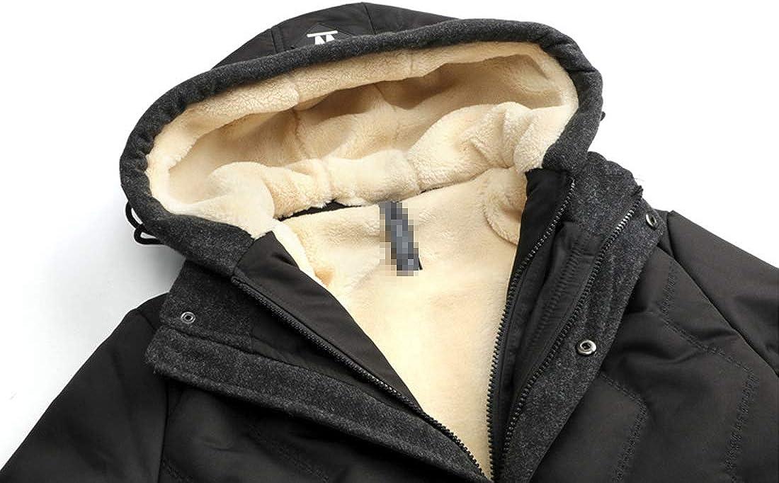 D.B.M Mens Casual Plus Velvet Thick Detachable Drawstring Hooded Cotton Coat